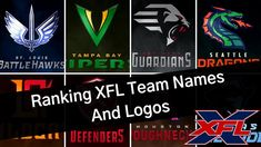 TheMarks XFL Team names and logos ranking from the podcast. From worst to best. Xfl Teams, Team Names, Philadelphia Eagles, Tampa Bay, St Louis, Logos, A Logo, Legos
