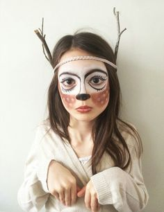 When you think about face painting designs, you probably think about simple kids face painting designs. Many people do not realize that face painting designs go Reindeer Face Paint, Reindeer Makeup, Reindeer Costume, Diy Maquillage, Maquillage Halloween, Face Painting Designs, Body Painting, Halloween Make Up, Halloween Face Makeup