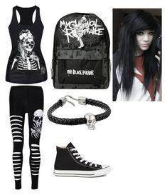 """""""Black emo set"""" by amberpend ❤ liked on Polyvore featuring Converse, Hot Topic and Alexander McQueen"""
