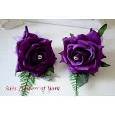 WEDDING FLOWERS PAIR OF BEAUTIFUL CADBURYS PURPLE BUTTONHOLES
