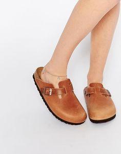 Birkenstock | Birkenstock Boston Natural Leather Clog Flat Shoes at ASOS