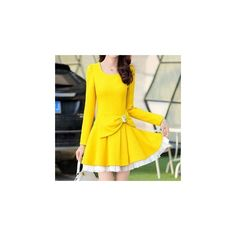 Long-Sleeve Layered Jeweled Bowed Dress ($44) ❤ liked on Polyvore featuring dresses, women, double layer dress, bow dress, sleeve dress, yellow long sleeve dress and jewel dress