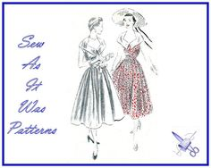 """1950s Vogue 7086 Cocktail Day Sleeveless Dress Large Shaped Collar Fitted Bodice Flared Skirt Vintage Sewing Pattern Size 14 Bust 32"""" 83cm"""
