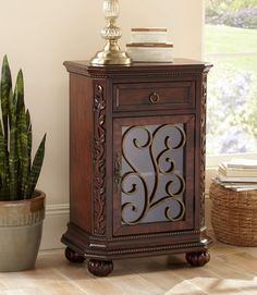 Add Rich Detail To Your Home Decor With This Traditional Style Cherry  Finish Accent Table.