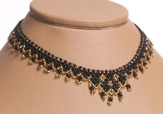 Modern Ukrainian Handmade Jewelry Beads Beaded NECKLACE Gerdan: Black /GOLD