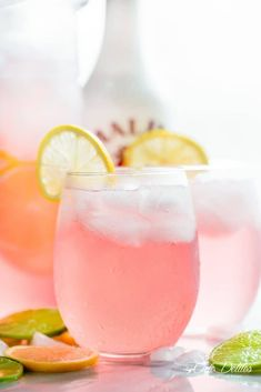 Pink Vodka Lemonade with a splash of Malibu and lime juice to get your party started! Easy to make and refreshing!
