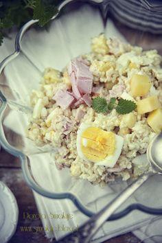 rice, ham and pineapple salad Polish Recipes, Polish Food, Pineapple Salad, Cobb Salad, Potato Salad, Food To Make, Cooking Recipes, Poland, Ethnic Recipes