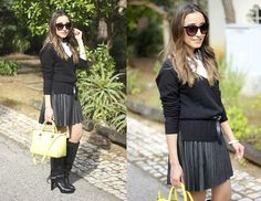 Pleated Skirt With Boots (by Besugarandspice FV) http://lookbook.nu/look/4657783-Pleated-Skirt-With-Boots   Wildish black boots with a relatively conservative outfit
