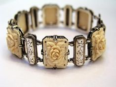 Antique Victorian Ivory Carved Bracelet
