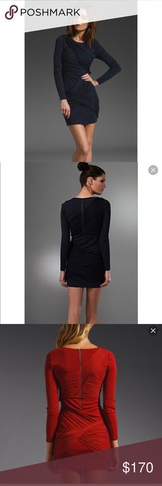 Alice + Olivia Goddess Dress Long Sleeve Black EUC Black goddess long sleeve mini dress by Alice + Olivia. Worn once. Stretchy Silk and Acetate material. Zipper in back. Red image shows back detail more clearly but the dress for sale is black! Alice + Olivia Dresses Long Sleeve