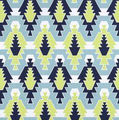 Tribal Cotton Fabric Designer Navy Blue Aqua Blue Drapery Fabric Curtain Fabric Upholstery Fabric Southwest Indian