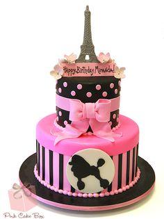 Miranda's 10th Birthday French Themed Birthday Cake.  More photos at http://blog.pinkcakebox.com/french-themed-birthday-cake-2013-04-20.htm