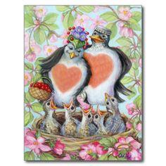 So cute! Love Birds Happy Robin Family Nest Whimsical Postcard