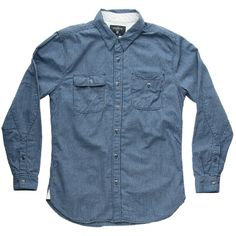Freenote Cloth Lambert Mens Stripe Shirt $150 | Natural indigo dyed cotton, Sweat proof pocket, Elbow patch detail, Vintage metal buttons from Japan, Made in USA