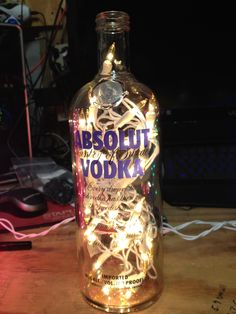 Absolute bottle with yellow lights