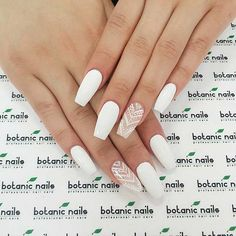 Here are over 39 stylish white acrylic nails for you to undertake this summer. Chic nails are every women dream. no one desires to envision atrocious nails. White Lace Nails, White Coffin Nails, Lace Nail Art, White Acrylic Nails, White Nail Art, White Acrylics, Lace Nail Design, White Nail Designs, Acrylic Nail Designs