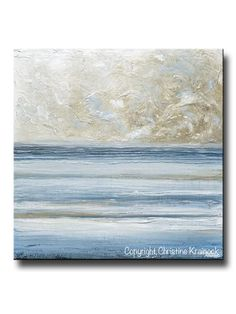 ORIGINAL Art Abstract Blue White Painting Textured Canvas Coastal Blue Grey Beige LARGE Wall Art Decor - Christine Krainock Art - Contemporary Art by Christine - 1