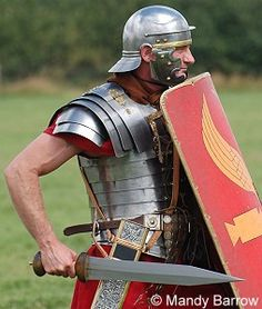 Roman Weapons | The legionary wore his sword high on the right side of his body. This ...
