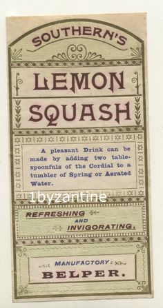 Rare Bottle Label (never seen before) for C W Southern Belper Derby Derbyshire. Lemon Squash Cordial Label to be used with aerated water. One off chance to buy such a rare label, only one available. Squash Drink, Cordial, Derbyshire, Bottle Labels, Vintage Ads, Bottles, Southern, Lemon, Drinks