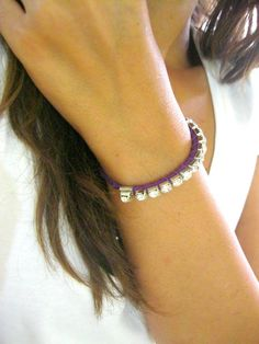 adjustable bracelet purple leather bracelet best by INDAJEWELLERY