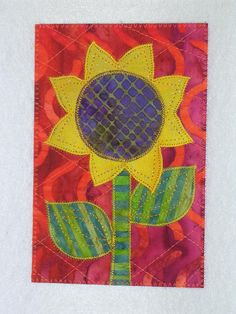 Sunflower   Applique Quilted Fabric Postcard