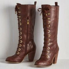 """Brown heeled boots Sold as the """"Prospectress Boots"""" on Modcloth by Cleopatra. Never worn, comes with original box. ModCloth Shoes"""