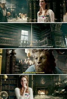 This was the cutest scene! ❤ The Beast is baffled by just how much Belle is taken by the library. Kinda want the Beast for myself now, he's charming