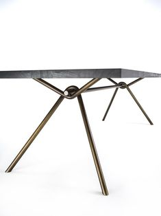 Buy online Iron squared By riva rectangular solid wood table design Giovanna Azzarello, iron Collection Bench Furniture, Metal Furniture, Industrial Furniture, Furniture Design, Dining Table Design, Dinning Table, Kitchen Sofa, Metal Table Legs, Iron Table