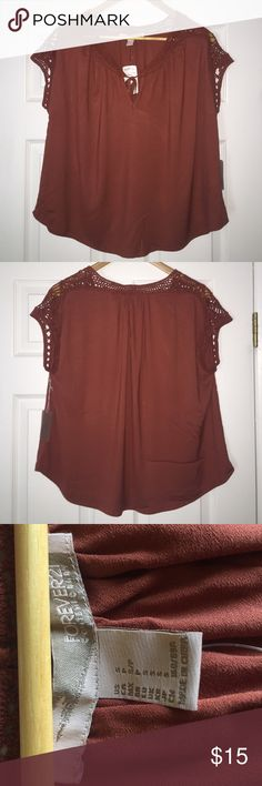 Forever21 Contemporary Amber Woven Top This top is NWT! Never worn; not really my style. Top is in the color amber. It is a woven top with a tie in the front. Size is Small. Forever 21 Tops