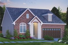 Front elevation of French home.With over 1700 living sq ft this home is fit for any growing family.(ThePlanCollection: House Plan #120-2493)