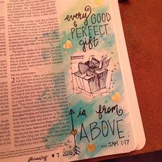 "I wasn't sure about the watercolors getting my bible page wrinkly... Until I read a post from a lady that said its okay when our journaling pages don't turn out perfect, because we are not expected to be perfect in God's eyes. So here is my watercolor and stamp page. ""Every good and perfect gift is from above."" #james1:17 #biblejournal #bibleartjournaling #timholtz"