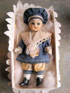 Rare-antique-Victorian-Sailor-miniature-doll-in-box-Germany