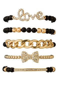 Love and bow Embellished bracelet set (original price, $14) available at #Maurices