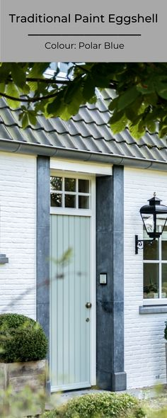 Are you ready for summer? Give the exterior of your home a fresh look with a new coat of paint on the front door and your exterior facade.  In this picture: Front door: Traditional Paint Eggshell in the colour Polar Blue Facade: Calx Kalei in the colour Sea Salt  #pureoriginal #exterior #facadepaint #paint #sustainable Traditional Paint, Eggshell, Sea Salt, Sustainability, Facade, Exterior, Colour, Pure Products, Fresh