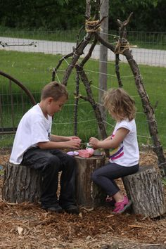 natural outdoor play area -  can we lash together branches for Kindergarten play houses?