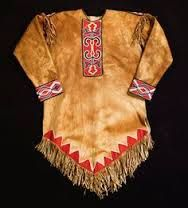 Tanned hide Tlingit embroidery fringed shoulders. Inland chilkoot chilkat trail people.