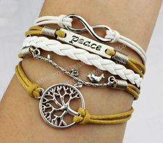 Jewelry bracelet silvery bird&peace bracelet tree by handworld, $6.59