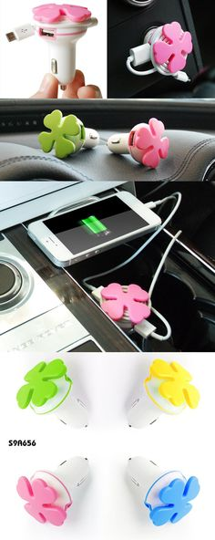Lucky Clover Shaped Car Charger w/Cable Winder  Description:  Car Charger With 2 USB Ports; 5V/2A Lucky clover shaped cable winder Material:  ABS+PVC  Size:         4.15*4.15*6.35CM www.ideagroupigm.com