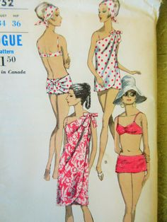Vintage Vogue 6752 Sewing Pattern, 1960s Swimsuit Pattern, Bathing Suit Pattern, Bust 36, Two Piece Swimsuit, 1960s Sewing Pattern, Cover Up by sewbettyanddot on Etsy