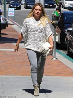 Grey day: Hilary Duff donned a mostly grey ensemble while running errands in Beverly Hills...
