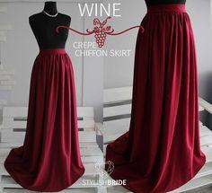 12 Wine Chiffon Simple Skirt Bridesmaids Chiffon Skirts