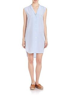 Rag & Bone Chambray Pinstriped Shirtdress - Chambray White - Size