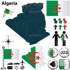 Buy Map of Algeria by on GraphicRiver. Vector of Algeria set with detailed country shape with region borders, flags and icons. Algeria Travel, Africa Travel, Language Logo, Africa Destinations, Free Maps, Islamic World, Map Vector, Cartography, Graphic Prints