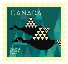 'Canada geese' Dale Nigel Goble stamp design for Canada Post Postage Stamp Design, Postage Stamps, Postage Stamp Collection, Native Design, Stamp Collecting, Mail Art, Bird Art, Art Lessons, Illustration