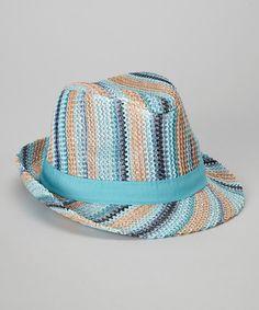 Blue & Peach Stripe Fedora