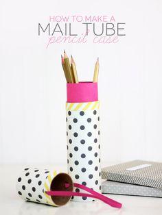 DIY mail tube pencil case