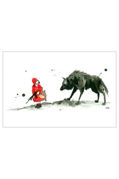 Lora Zombie Red Riding Hood, Mounted Canvas
