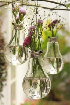 Recycling at its finest!  Old light bulbs into hanging flower vases!! hanging lights, diy fashion, diy crafts, hanging flowers, bulb, flower vases, diy gifts, garden, diy light