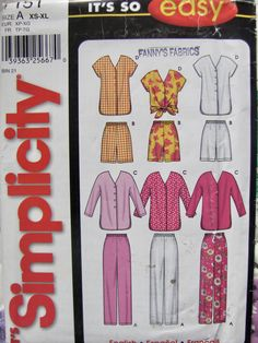 Simplicity Misses Sizes 6 to Pull On Pants, Pull On Shorts and Baseball Top Sewing Pattern, Long or Short Sleeve Tops, Uncut by OnceUponAnHeirloom on Etsy Easy Sewing Patterns, Simplicity Sewing Patterns, Clothing Patterns, Pants Pattern, Top Pattern, Sewing Hacks, Sewing Projects, Sewing Tips, Misses Clothing