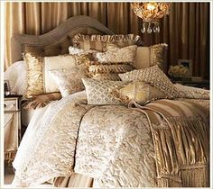 Opulent ivory and gold bed linen